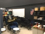 The stage - complete with teacher work desk, band equipment and physical therapy equipment